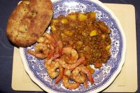 Fried Prawns with Curried Lentils